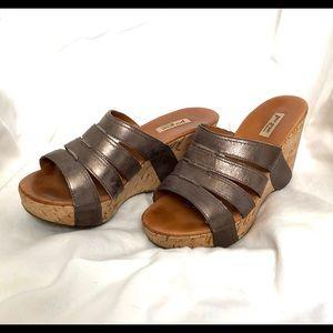 Paul Green Bronze cork wedge sandals